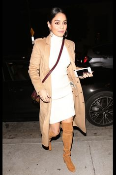 What a Catch from Fashion Police Vanessa Hudgens steps out looking winter chic for a dinner date at Catch LA in West Hollywood in a tan Burberry coat, a cream sweater dress and trendy over-the-knee boots. Work it, V! Estilo Vanessa Hudgens, Vanessa Hudgens And Austin Butler, Vanessa Hudgens Style, Dinner Outfits, Night Outfits, Fashion Outfits, Women's Fashion, Woman Outfits, Club Outfits