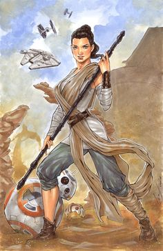 Star Wars: Episode VII - The Force Awakens - Rey by Elias Chatzoudis * Rey Star Wars, Star Wars Art, Comic Book Artists, Comic Artist, Slave Leia Art, Character Art, Character Design, Pin Up Drawings, Star Wars Girls