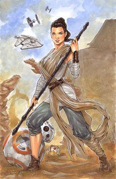 Star Wars: Episode VII - The Force Awakens - Rey by Elias Chatzoudis * Rey Star Wars, Star Wars Art, Comic Book Artists, Comic Artist, Slave Leia Art, Pin Up Drawings, Star Wars Girls, Episode Vii, Science Fiction Art