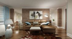 Brown and Turquoise Living Room, Contemporary, living room, Benjamin Moore Lambskin, Marie Burgos Design