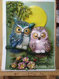 Fulya's papertole_Sümbül Eldek Owl Artwork, Sculpture Painting, Art Techniques, Mixed Media Art, Quilling, Decoupage, Projects To Try, Wall Decor, Gautam Budh