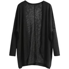 Black Long Sleeve Loose Knit Cardigan (£7.09) found on Polyvore featuring tops, cardigans, black, outerwear, sweaters, long sleeve knit cardigan, knit cardigan, knit tops, black long sleeve top and long sleeve cardigan