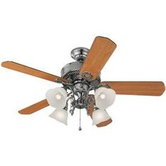 Harbor Breeze�Edenton 52-in Polished Pewter Downrod or Flush Mount Ceiling Fan with Light Kit