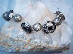 Silvertone Antique-Look  Button and Bead Bracelet by karalennox, $9.00