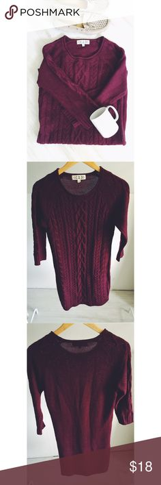 Pink Rose Cable Knit Tunic Sweater Gorgeous, deep burgundy hue with a soft, cable knit material. This is perfect for layering and the extra length makes it perfect paired with leggings. Hits below the booty:) some light piling, but overall good, used condition! Pink Rose Sweaters