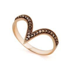 Anel em Ouro Rosê 18k Asa Delta com Diamantes Brown an32218 - Joiasgold #diamond #diamante #glamour #fashion