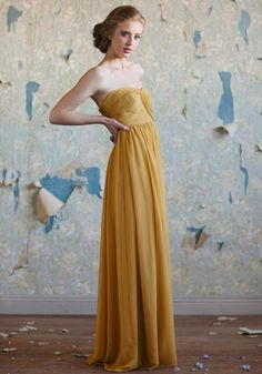 This is a bridesmaid dress but I want to wear it. There weren't cool bridal sites like this when I got married. I love mustard yellow.