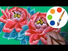 How to paint The Peony, paint a flower, onestroke, irishkalia - YouTube