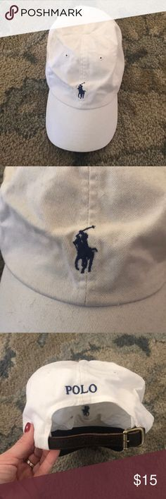 Polo Ralph Lauren Baseball Hat Authentic White and Navy, great condition, small stain on right side (could be removed with stain remover), leather back buckle, unisex Polo by Ralph Lauren Accessories Hats