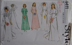 Vintage 1970's Style 4411 Sewing Pattern Wedding Dress Gown Bridal Bridesmaid Classic Simple Elegant by CartrefEclectig on Etsy