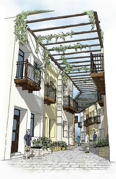 Perspective View of the Mercado Walk Project for Rammed Earth Development - architecture Sketchbook Architecture, Architecture Concept Drawings, Landscape Architecture, Architecture Design, Japanese Architecture, Classical Architecture, Interior Architecture Drawing, Landscape Sketch, Landscape Design