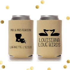 hey, i found this really awesome etsy listing at s www etsy Wedding Koozies Lafayette La louisiana lovebirds custom koozie personalized wedding favor or party gift pelicans engagement Rustic Wedding Koozies