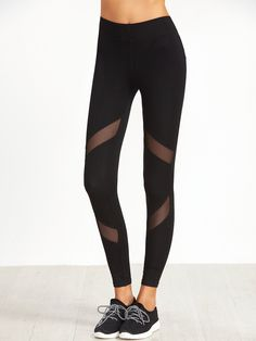 Shop Black Mesh Insert Skinny Leggings online. SheIn offers Black Mesh Insert Skinny Leggings & more to fit your fashionable needs.