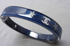 Chanel Crystal Inlaid Strass Star Motif Navy Resin Cuff Bracelet