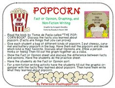 Peterson's Pad: Popcorn Freebie - Fact Opinion (activities to use with The Popcorn Book). Use on Pajama Popcorn day to reinforce Fact Opinion Reading Facts, Teaching Reading, Fun Learning, Guided Reading, Teaching Ideas, Fact And Opinion, Opinion Writing, Popcorn Theme, Informational Writing