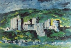 """""""Kidwelly Castle"""" by John Piper, 1984 (lithograph)"""