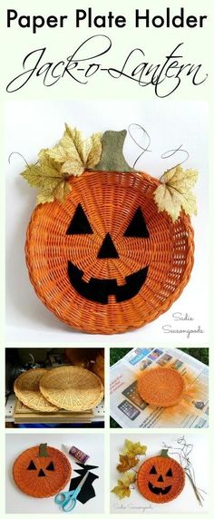 Wicker paper plate holders are all over the shelves at thrift stores! This is one of the easiest (and cutest) Halloween repurposed DIY craft projects ever- upcycle one into a darling pumpkin jack-o-lantern to hand on the door instead of a wreath! #SadieSeasongoods / www.sadieseasongo...