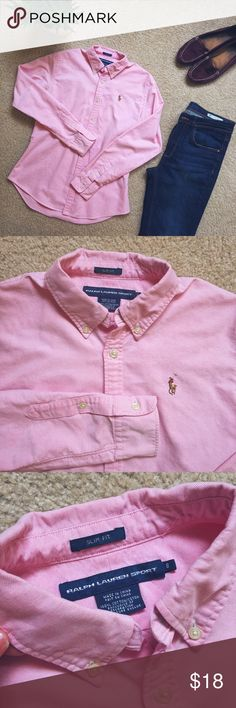 Ralph Lauren Sport Shirt pink This is slim fit model, great condition, perfect for casual official meetings! Light pink color, more on a warm side! Ralph Lauren Tops Button Down Shirts