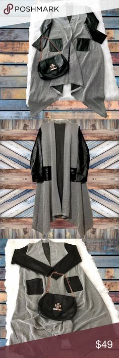 "Black & Gray Patchwork Trench Coat Dressy-casual, asymmetrical, rayon, open trench coat with faux leather sleeves & pockets.    New. Size 2XL / 14.   Length: 40"" Shoulder: 16.5"" Sleeve: 24""  • Accepting Offers • Bundle For Best Discount • No Trades • Jackets & Coats Trench Coats"