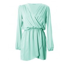 In Love with Fashion Aqua long sleeve wrap dress