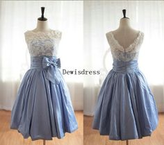 A-line Scalloped Blue Knee Length Chiffon Backless Short Lace Taffeta Bow Bridesmaid Dresses on Etsy, $109.00
