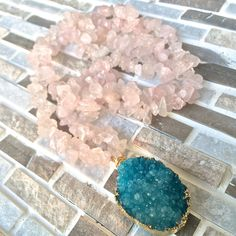 Teal Blue #Druzy Pendant on #RoseQuartz Crystal Chip Necklace | Electroplated in 24K Gold | Druzy #Geode Pendant, Druzy Jewelry, Druzy Quartz by MayanRoseShop on Etsy #MayanRose Mayan Rose
