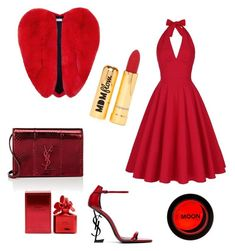 """""""Red Valentine"""" by ioana-adelina-1 on Polyvore featuring Yves Saint Laurent, Nasty Gal and Marc Jacobs"""