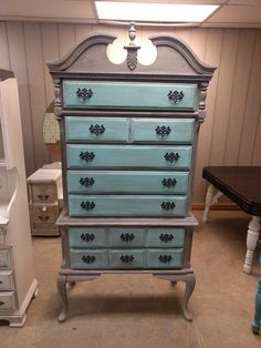 I love these tall chest of drawers, tons of space and they make a statement in the room! That is why I painted this one multi-colored so it would pop. Shabby Chic Chest Of Drawers, Dresser, Room, How To Make, Furniture, Space, Home Decor, Ideas, Products