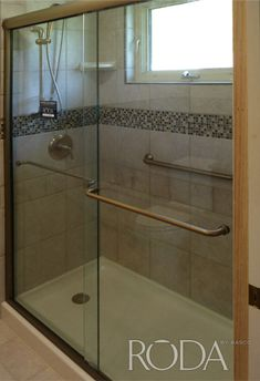 sliding shower door with tower bar custom shower door photo gallery basco - Tub Shower Doors