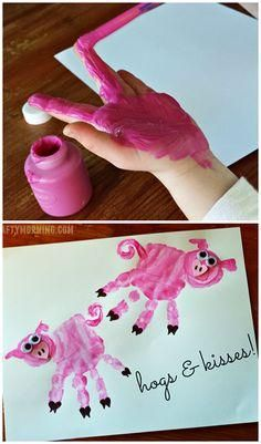 """Hogs & Kisses!"" Handprint Pig Valentine Craft for Kids or a Farm Art Project 