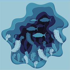 Illustration of Vector illustration of a school of fish on the seabed in algae vector art, clipart and stock vectors. Paper Art Design, 3d Paper Art, Paper Artwork, Cut Out Art, Fish Illustration, Art Plastique, Paper Cutting, Vector Art, Sculpture