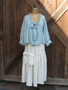 linen top blouse swing style with ruffles in light dusty blue. $135.00, via Etsy.