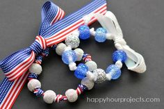 Easy Ribbon & Bead Bracelets at www.happyhourprojects.com Video 6:21 mins I've got a fun, fast patriotic project craft-along video to share with you today!  For this project, I am using 3/8″ ribbon (but any width under an inch will work well).  I used about 40 inches,   Let me advise you to cut it long; you can always trim it off if you get too much.  The beads you choose should have a large hole (like pony beads, or these fun sparkly beads) – aim for a 3mm hole.