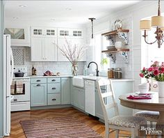 Cottage Kitchen Design Ideas   An All White Cottage Kitchen Is Classic, But  Pretty Painted Base Cabinets In A Pastel Blue Make A Room Shine Bright!