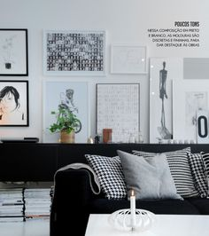 black and white gallery wall #decor #frames #walls #paredes #quadros