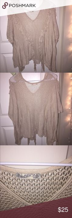 Billabong frilly top This top from Billabong is super fun and adorable! A poncho-like design with fun tassels and accents. Very comfortable! Worn gently with no damages Billabong Tops Blouses
