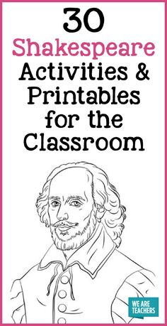 30 Shakespeare Activities and Printables for the Classroom. High school English teachers will love these lessons and resources. # english lesson plans 30 Shakespeare Activities & Printables for the Classroom English Teacher Classroom, English Classroom Decor, English Teachers, English Lesson Plans, English Lessons, English Projects, Gcse English, Games To Learn English, English Games