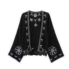 Boho Floral Embroidered Shirts Women Tribal Style Vintage Ethnic Kimono Cardigan Long Sleeve Loose Gauze Blouses Tops