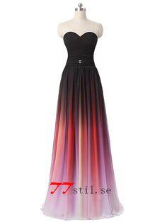 Toningsfärg balklänningar älskling rynkad lång brudtärna klänningar