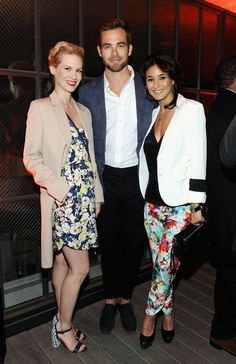 Chris Pine Photos Photos - Actors January Jones, Chris Pine, and Emmanuelle Chriqui attend Coach's 3rd Annual Evening of Cocktails and Shopping to Benefit the Children's Defense Fund hosted by Katie McGrath, J.J. Abrams and Bryan Burk at Bad Robot on April 10, 2013 in Santa Monica, California. - Evening of Cocktails and Shopping Charity Event