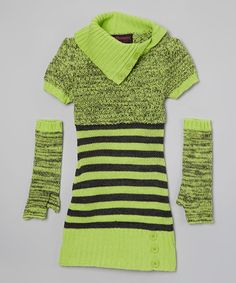 e3f143c08789 Dollhouse Lime Stripe Shawl Collar Dress   Arm Warmers - Girls