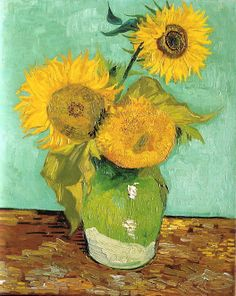 Vincent van Gogh (Dutch, Post-Impressionism, 1853-1890): Three Sunflowers in a Vase, 1888. Created in Arles, France. Oil on canvas, 73 x 58 cm. Private Collection.