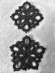Put a ring in the middle of the pentagon one and use it as a spool pin doily. From TotusMel Needle Tatting and other Nonsense: Free Motif Pattern