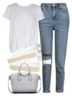 """""""Outfit with jeans and platform sneakers"""" by ferned ❤ liked on Polyvore featuring Topshop, MINKPINK, Yves Saint Laurent, Givenchy and Forever 21"""