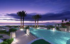 Purple sunset at the resort wallpaper