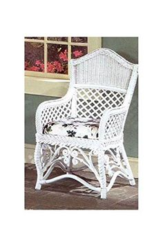 Gazebo Chair with Arm Rests (Yvonne Aloe (All Weather)). Fabric: Yvonne Aloe (All Weather). Solid Wicker Construction. White Finish. For indoor, or covered patio use only. Includes cushion.