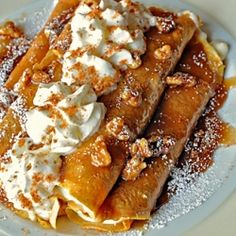 Thanksgiving & Fall Recipes: Praline Pumpkin Crepes with Cream Cheese Filling
