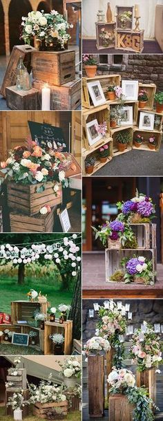 Vintage rustic wedding decoration ideas with wooden boxes # .- Vintage rustikale Hochzeitsdekoration Ideen mit Holzkisten Ho… Vintage rustic wedding decoration ideas with wooden boxes Wedding ideas - Wood Themed Wedding, Wooden Crates Wedding, Wood Crates, Fall Wedding, Dream Wedding, Trendy Wedding, Elegant Wedding, Cheap Wedding Ideas, Wedding Ceremony