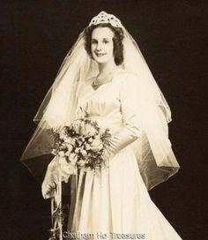 Vintage Wedding photo Happy Bride w beaded crown