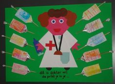 Dit is dokter Wil, die prikt je in je . Art And Craft Images, Nurse Crafts, Community Helpers, Art For Kids, Preschool, Arts And Crafts, Classroom, Craft Ideas, Health